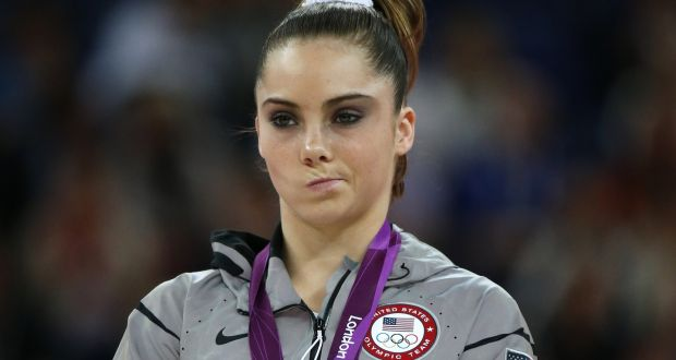 Gymnast McKayla Maroney sneering after she  lost out on a gold medal