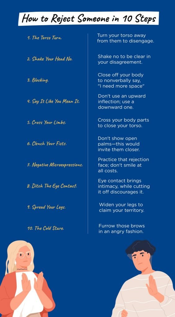 Infographic showing how to reject someone in 10 steps