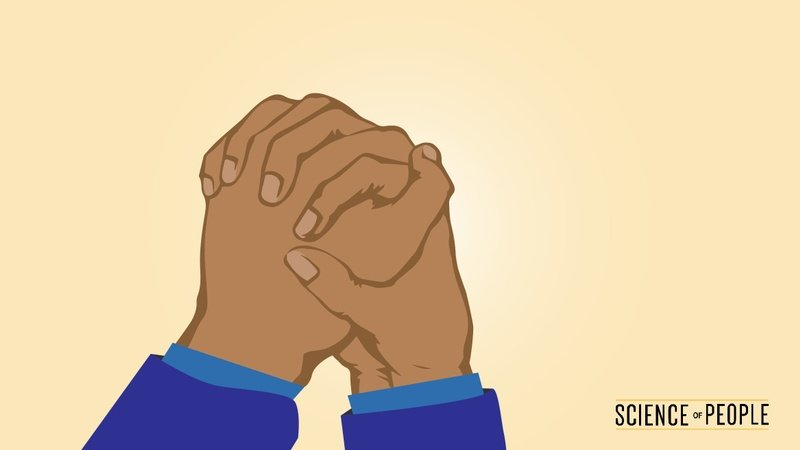 Illustration of hands with fingers intertwined