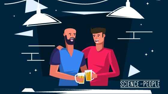 2 people, drinking beer, having fun and chatting with each other at a Social Event
