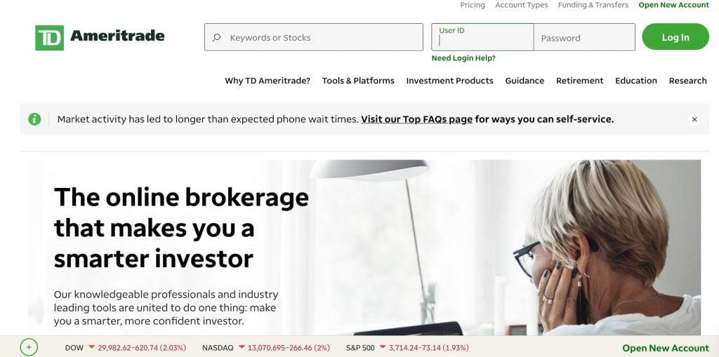 Ameritrade website screenshot