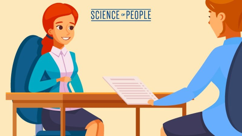 Ilustration showing a person holding her resume in front of her, blocking the person sitting in front