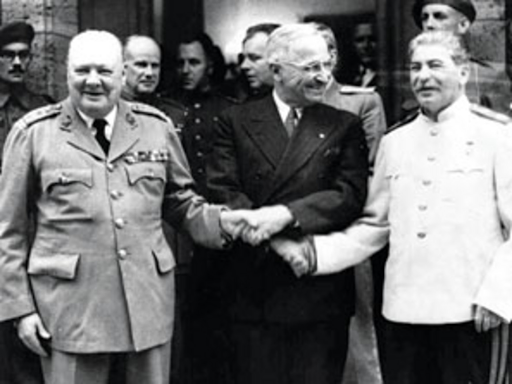British Prime Minister Winston Churchill, US President Harry Truman, and Russian leader Joseph Stalin engaging in a tie-knot handshake