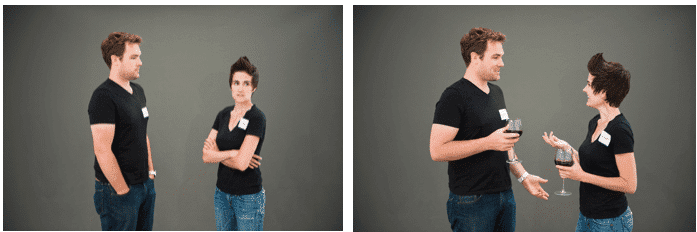 Image showing close body language cues on the left and open body language cues on the right