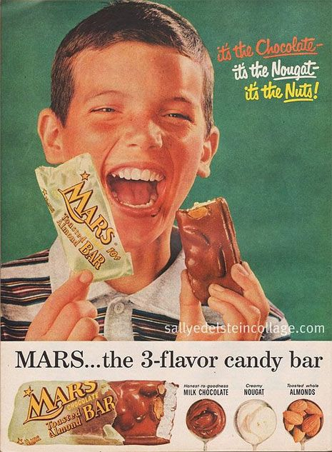 Old Mars Bar ad image showing a happy kid with his bar