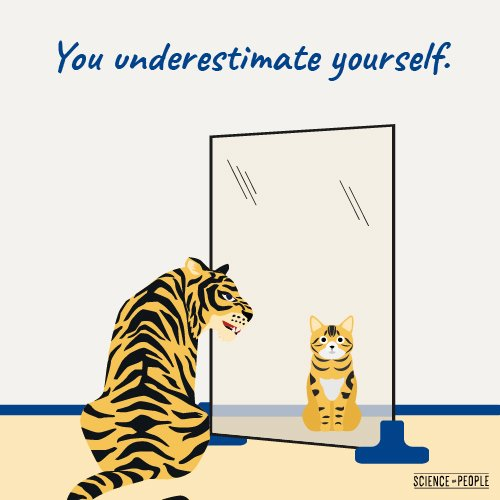 Graphic of a tiger that sees itself on the mirror as a kitty