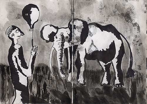Black and white drawing of a man holding a balloon and an elephant standing next to him