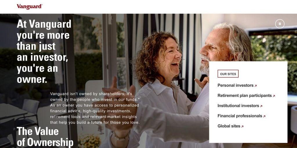 Vanguard's website screenshot