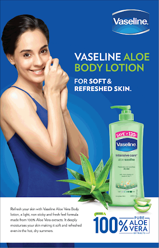 Vaseline body lotion ad where the half of the body is visible.