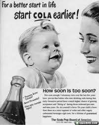 Old cola ad featuring a baby