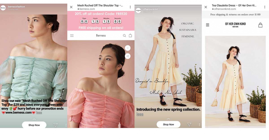 Image shows different clothing ads, where the models are not smiling