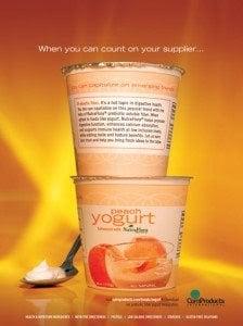 colorful peach yogurth advertising
