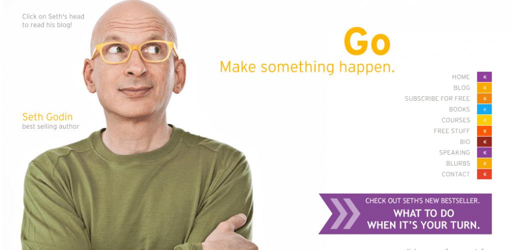 Screenshot of Seth Godin's website banner