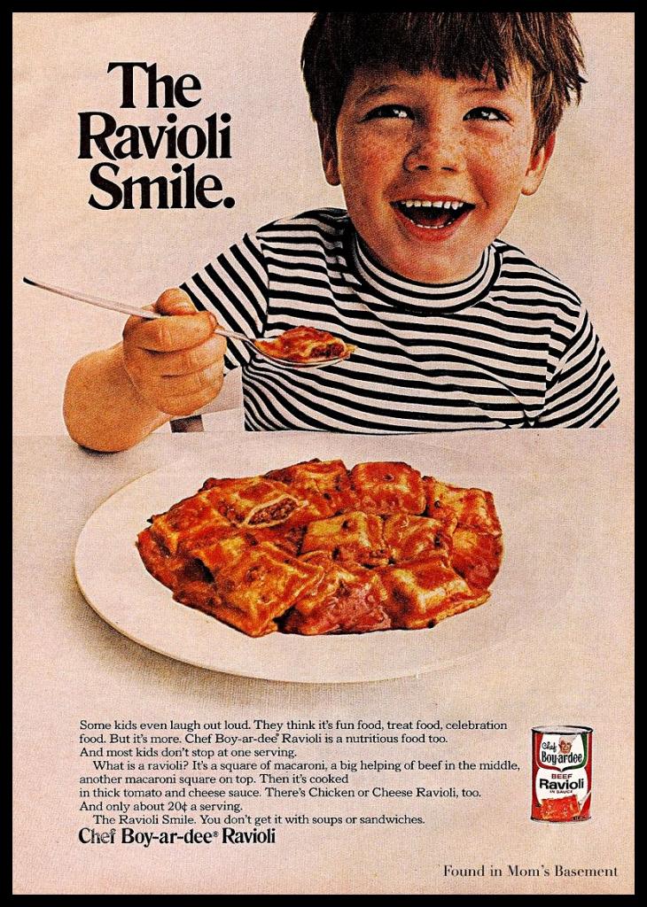 Ad image showing a kid eating ravioli and smiling
