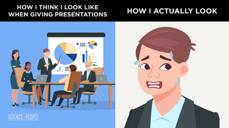 How I think I look like when giving presentations (confident) vs How I actually look (anxious)