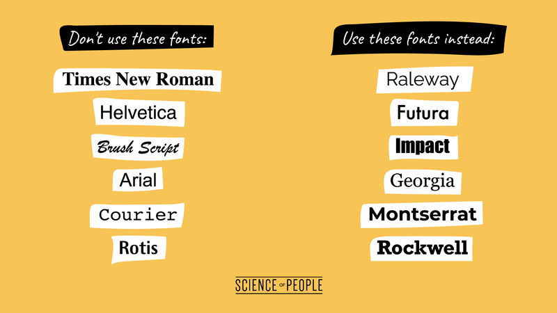 Don't use these fonts, use these fonts instead lists