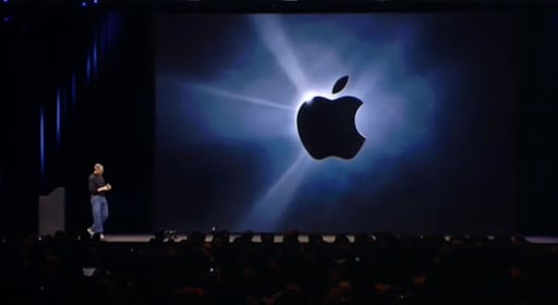 Apple's logo during the first iphone presentation event