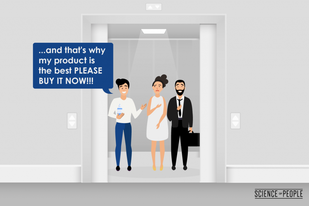 """Graphic showing 3 people in an elevator and one of them is saying """"... and that's why my product is the best please buy it now!"""""""