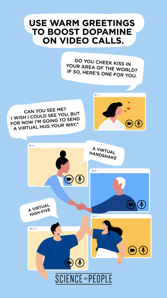 Graphic shows how to use warm greetings to boost dopamine on video calls